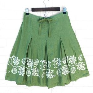 Ann Taylor Pleated and Embroidered Green Skirt